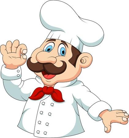cook hats: Chef de dibujos animados con la muestra aceptable Vectores