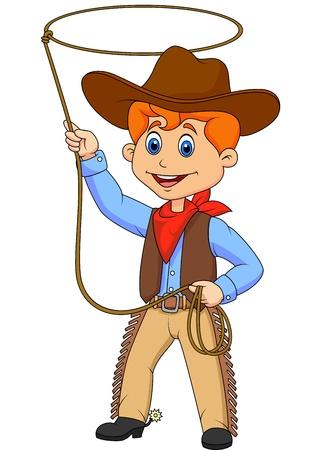 Cowboy kid cartoon kręcenie lasso
