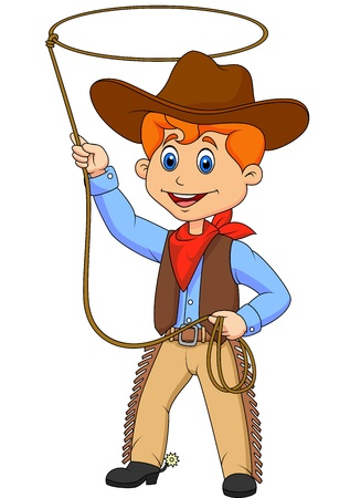 working cowboy: Cowboy kid cartoon twirling a lasso