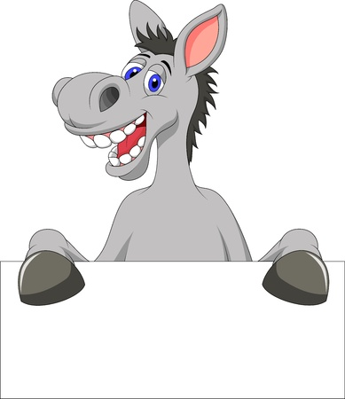 mule: Donkey cartoon with blank sign Illustration