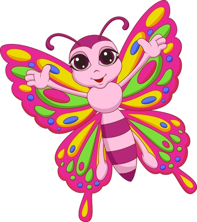 Cute butterfly cartoon Stock Vector - 19583355