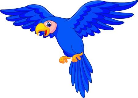 guacamaya caricatura: Loro de la historieta Flying Blue Vectores