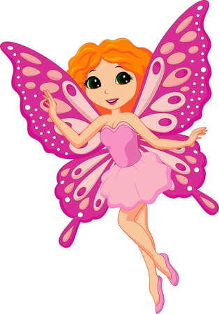 Illustration of a beautiful pink fairy Vector