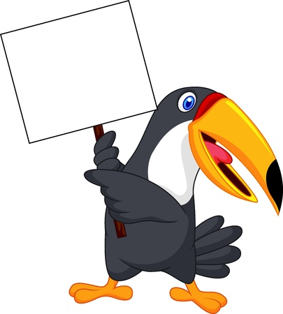 Toucan bird cartoon with blank sign Stock Vector - 19583361