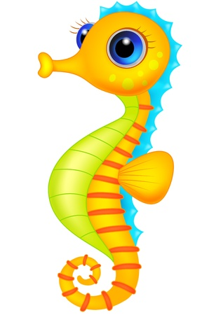 baby swim: Cute seahorse cartoon