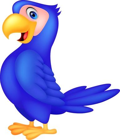 Cute blue parrot cartoon Vector