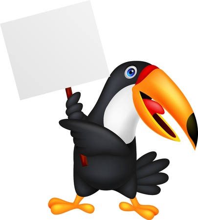 Toucan bird cartoon with blank sign Vector