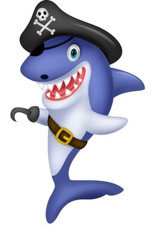 piratenhoed: Leuke piraat haaibeeldverhaal Stock Illustratie