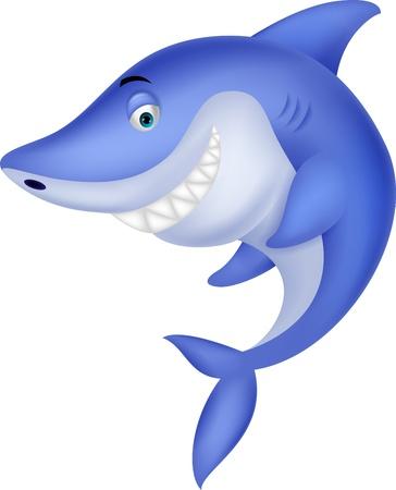aquatic: Cute shark cartoon Illustration