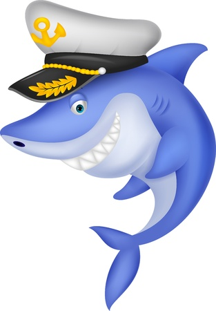 Shark captain cartoon Stock Vector - 19583399