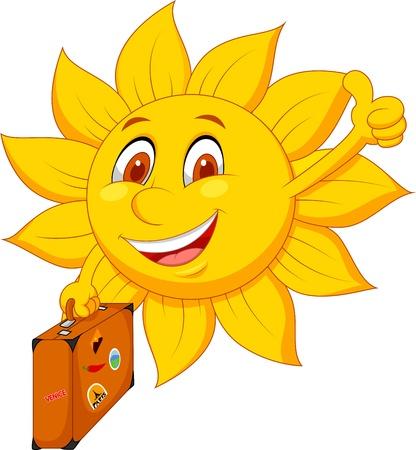 Cartoon sun travelle Vector