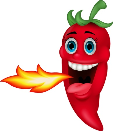 Chili Cartoon Character Breathing Fire Vector