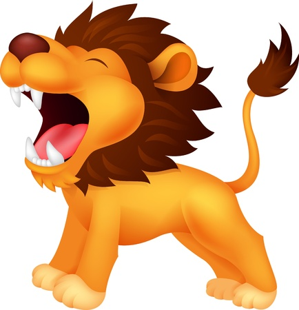 roar: Lion cartoon roaring