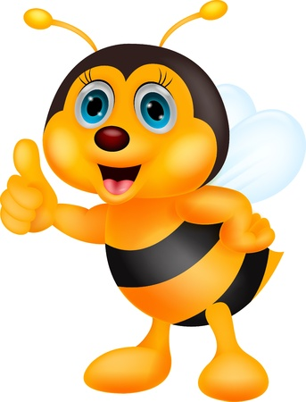 Cute bee cartoon thumb up Vector