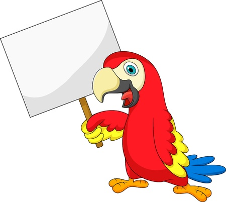 Macaw bird cartoon with blank sign Vector