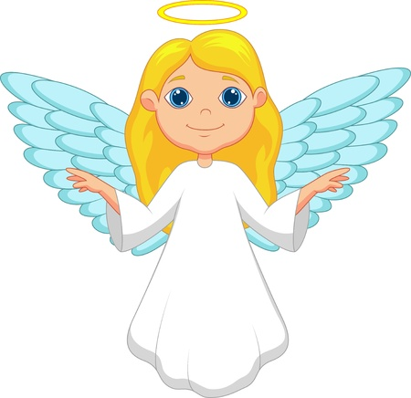 Witte engel cartoon Stock Illustratie
