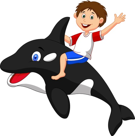 Boy cartoon riding orca Vector