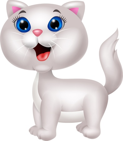 a lovely cat: Cute white cat cartoon
