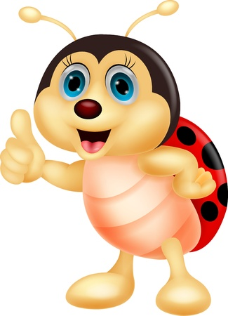 Cute ladybug cartoon thumb up Illustration