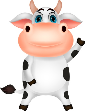 cows grazing: Cute cow cartoon waving Illustration