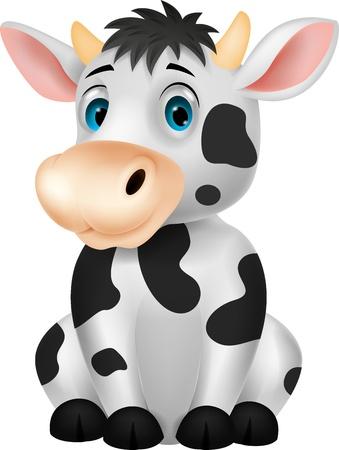 vaca caricatura: Historieta de la vaca linda que se sienta Vectores