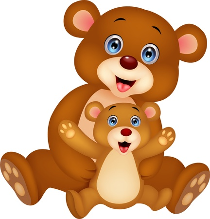 cubs: Mother and baby bear cartoon Illustration