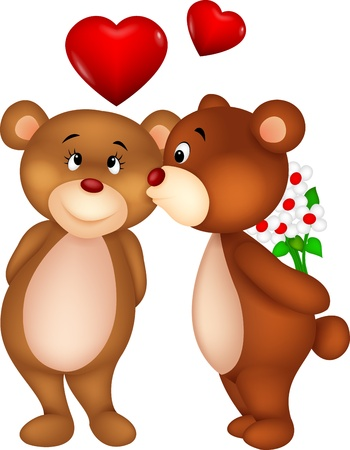 Bear couple cartoon kissing Vector
