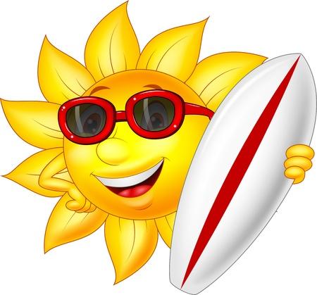 cartoon surfing: Cute sun cartoon character with surfing board