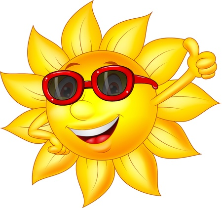 cartoon sun: Sun cartoon character with thumb up