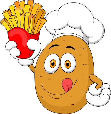 Potato Chef cartoon Holding Up A French Fries Vector