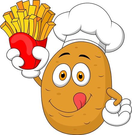 camote: Potato Chef de dibujos animados que soporta una patatas fritas