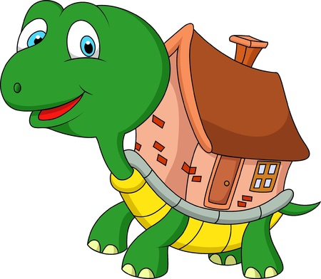 clipart chimney: Turtle cartoon with shell house
