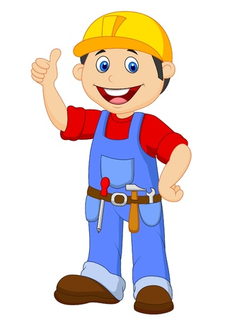 Cartoon handyman with tools belt thumb up Vector