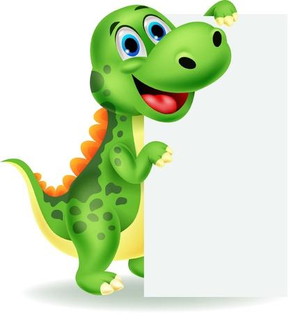 dinosauro: Carino dinosauro del fumetto con il segno in bianco