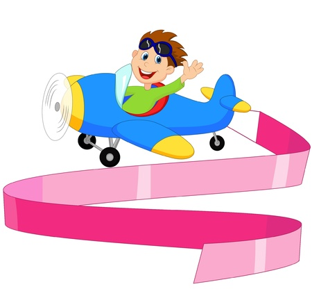 Little Boy cartoon Operating a Plane with blank sign Vector