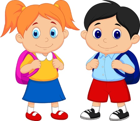Garçon et fille de bande dessinée avec des sacs à dos Vecteurs