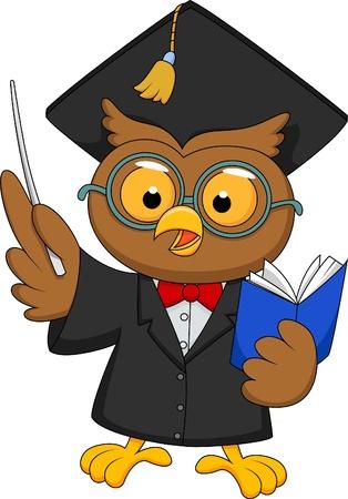 buho graduacion: B�ho de la historieta que lleva un uniforme de la graduaci�n de una presentaci�n Vectores