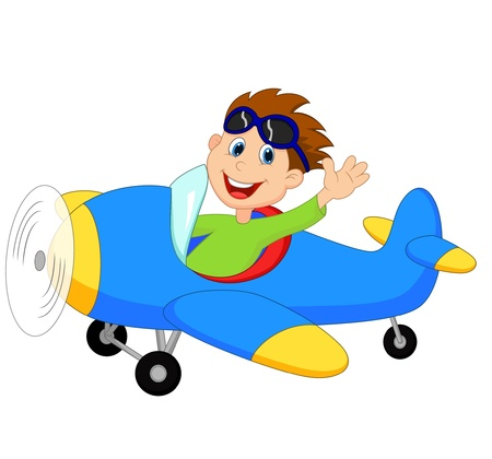 vliegtuig: Little Boy cartoon Operating a Plane