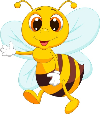 abeja caricatura: Lindo agitar historieta de la abeja