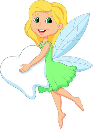 mythological character: Cute Tooth Fairy cartoon flying with Tooth Illustration