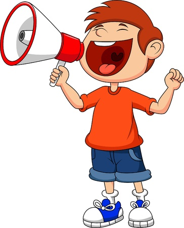 bullhorn: Cartoon boy yelling and shouting into a megaphone