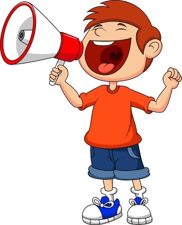 cartoon jongen: Cartoon jongen schreeuwen en schreeuwen in een megafoon