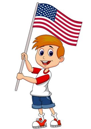 spangle: Cute boy cartoon waving with American flag