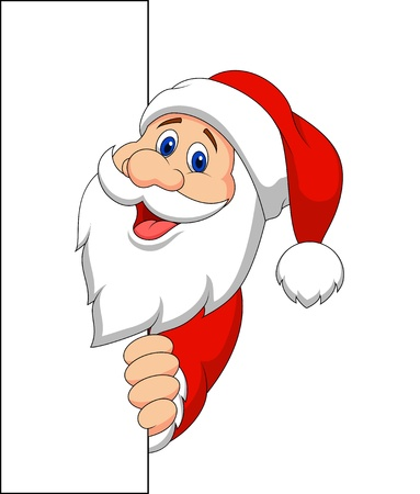 peeking: Santa cartoon with blank sign Illustration