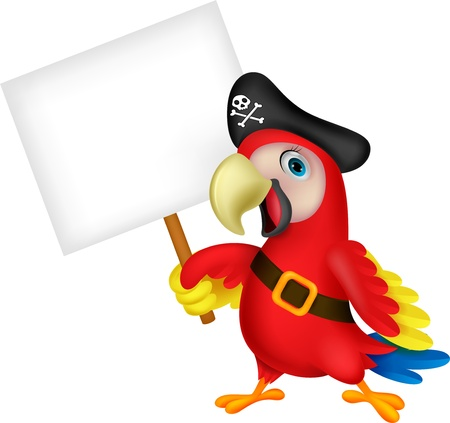 blue parrot: Parrot pirate cartoon with blank sign Illustration