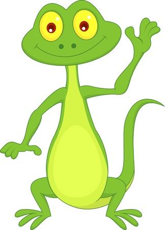Cute green lizard cartoon waving hand Stock Vector - 19864782
