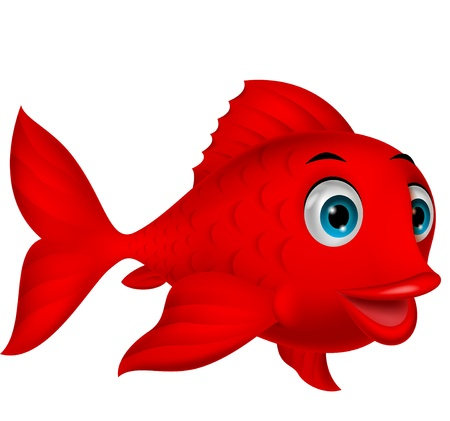 cartoon swimming: Cute red fish cartoon