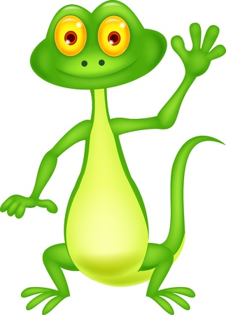 chameleon: Cute green lizard cartoon waving hand Illustration