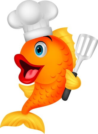 chefs cooking: Fish chef cartoon