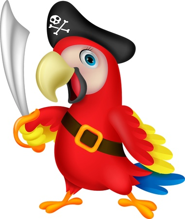 Cute parrot pirate cartoon Illustration